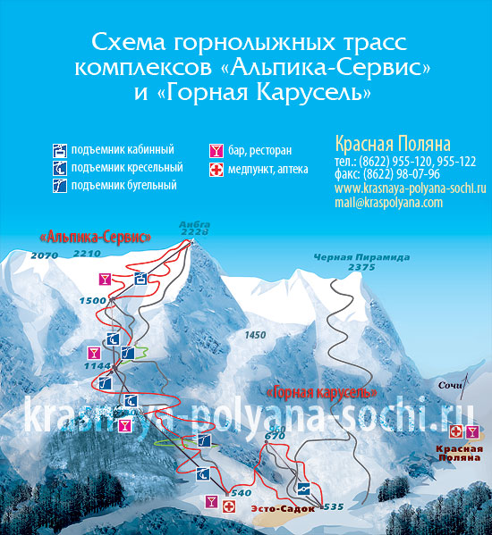 Схема трасс Альпики-сервис и Горной карусели, Красная Поляна